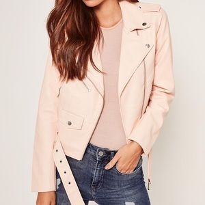 Missguided Faux Leather Biker Jacket Nude 4 NEW